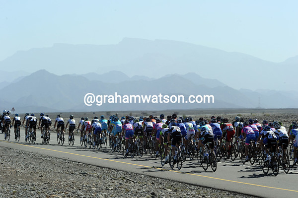 The peloton heads toward some fierce-looking mountains in Oman - quite a contrast after Qatar...