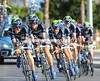 Team Movistar carried Spanish hopes into 5th place, 14-seconds down...