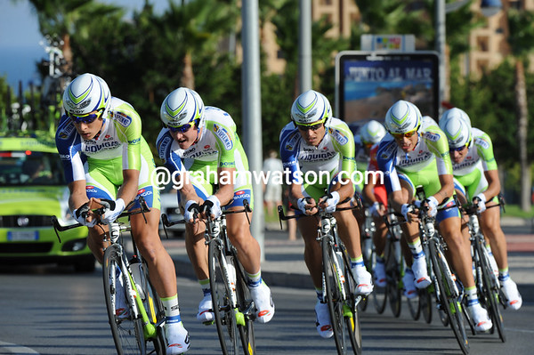 Team Liquigas carried Vincenzo Nibali into 2nd-pplace, four seconds slower than the winners...