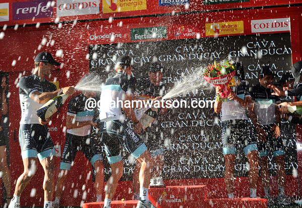 The Cava flows for Leopard-Trek after stage one of the Vuelta a España..!