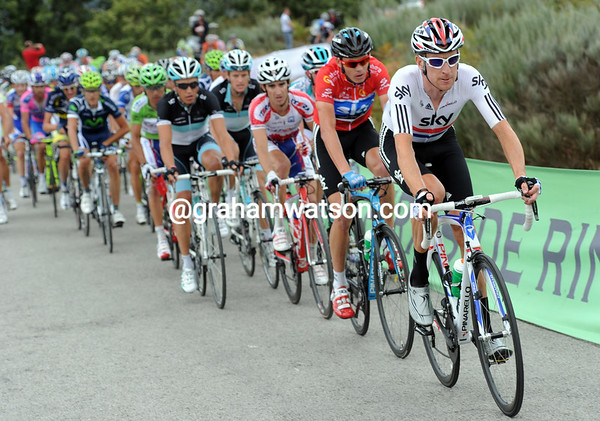 Bradley Wiggins leads the peloton - he's looking like the perfect teamate for Froome...