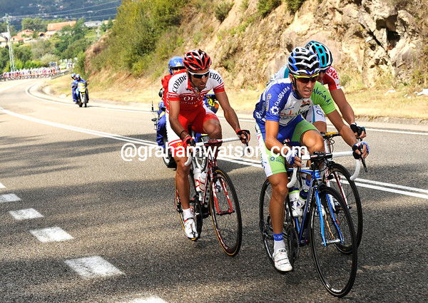 Jose Luis Roldan is at the head of a quartet moving clear after about 15-kilometres...