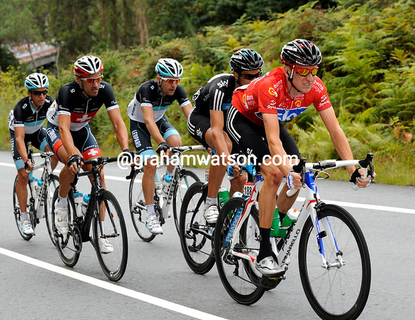 Wiggins seems winded by O'Grady's pace - and he has three Leopard riders right on his tail..!