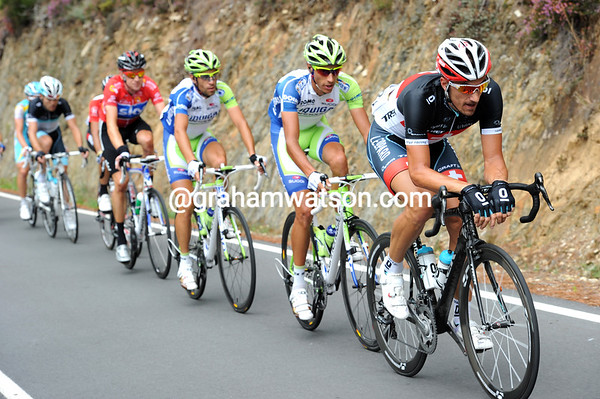 The escape has split, but Cancellara is closing the gap with Nibali and Wiggins behind him...