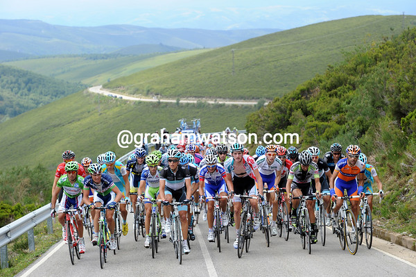 What's left of the peloton nears the summit of the Alto de Ancares with about 55-kilometres to go...