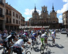 The peloton leaves Astorga at the start of another day in paradise...