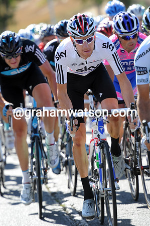 Bradley Wiggins is near the front of the peloton in case the winds cause a split - they have Froome right behind them...