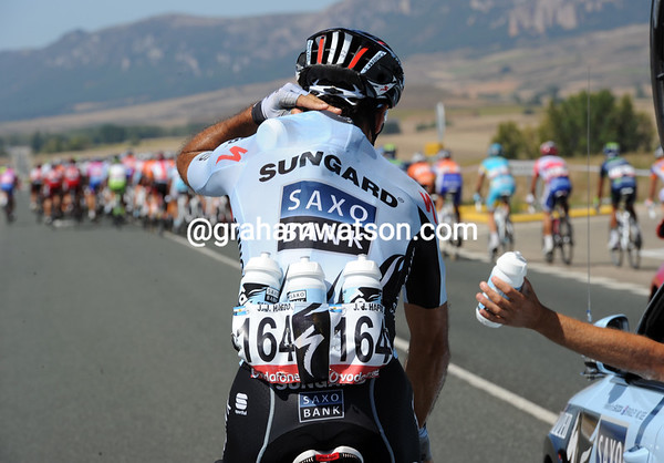 That was yesterday, today's another day - Juan Jose Haedo has swapped winning stages for bottle-carrying duties...