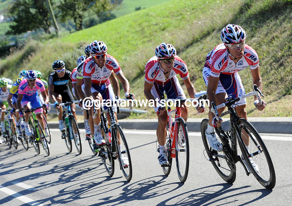 Katusha are leading the race towards the uphill finish for Rodriguez...
