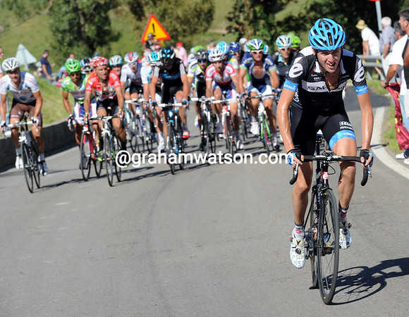Daniel Martin launches the first attack on the final climb...