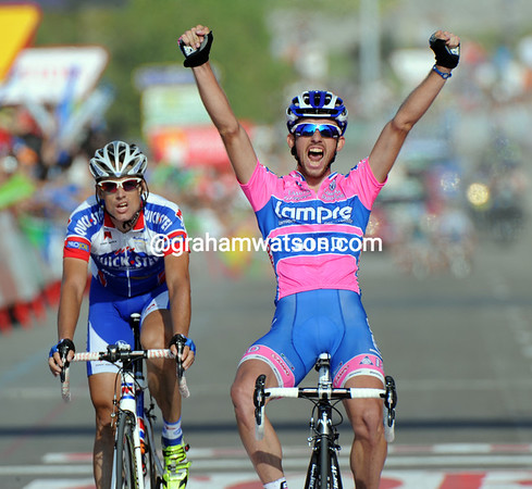 Francesco Gavazzi wins into Noja from Vandewalle after the escape caught Paulinho with three-kilometres to go...