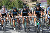Team Sky moves to the front for the start of two hilly circuits above Bilbao...