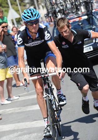 Johan Van Summeren has had to make a wheel-change...