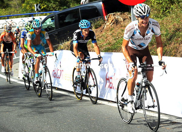 It looks as if Roche is attacking on the Urkiola climb...
