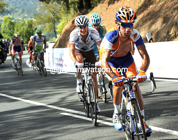 Roche is actually chasing and catching Carlos Barredo - but the Spaniard will pull away again and cross the summit ahead...