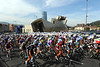 You can never have too much Guggenheim - the peloton passes Bilbao's famous museum on its way to the real start...