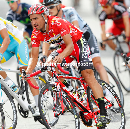 Race-leader Juan Jose Cobo dressed especially for the occasion - and had a new red bike..!