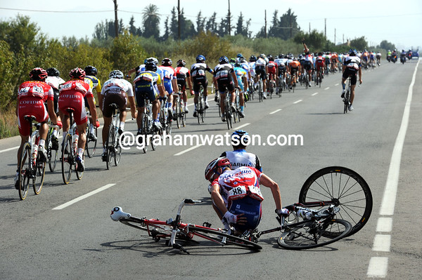 Yuri Trofimov has crashed with another rider as the peloton continues its chasing...