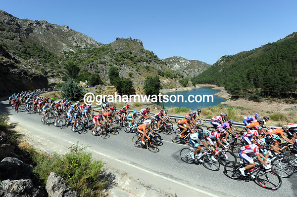 The peloton passes a reservoir in Andalucia - yes, there is water available in Spain..!