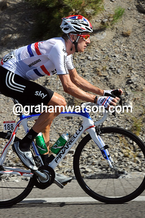 Bradley Wiggins has yet to breathe hard on such a tough stage...