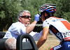 Matthew Busche has his bleeding nose seen to now the racing has slowed a little...
