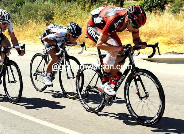 Way to go - Taylor Phinney has launched himself into an escape after a very bad day yesterday...