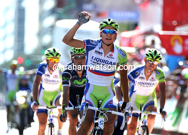 Peter Sagan wins stage six into Cordoba after he and three Liquigas riders attacked after the descent..