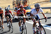 Matthew Busche is in a back group after making a wheel change just as Team Sky attacked...
