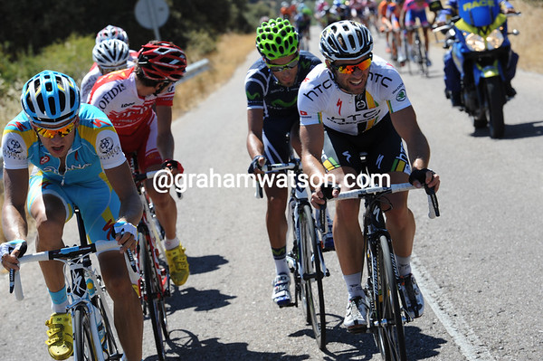 Albasini and Kangert are one of many riders trying to get away...