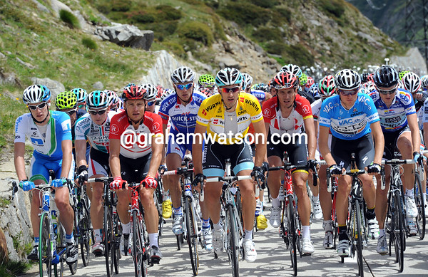 Both sprinters and climbers like Hunter and Van Garderen ride alongside Fabian Cancellara on the Nufenenpass...