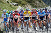 Both sprinters and climbers like Hunter and Van Garderen ride alongside Fabian Cancellara on the Nufenenpass...