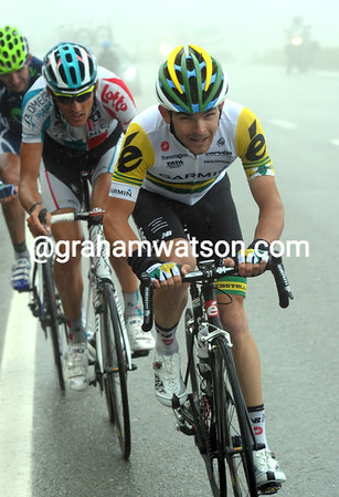 Jack Bobridge has been in the escape and would like to get back up to Schleck any time soon...