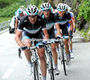 Voigt, Schleck and Fuglsang are setting a brutal pace up the GrimselPass...