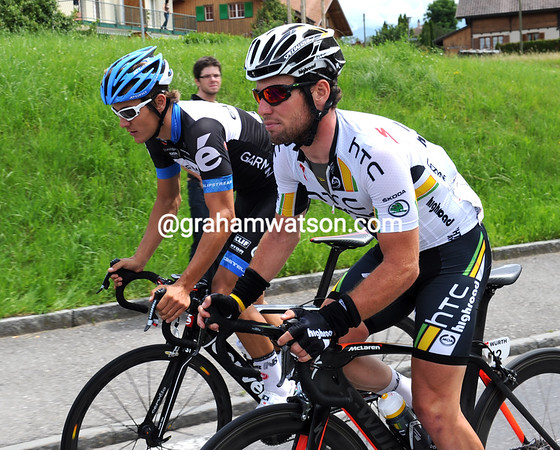 Hmmm...what might Haussler and Cavendish be talking about, one year after their spectacular crash here..?!