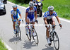 Lloyd Mondory has joined them and leads the way after about 40-kilometres...