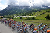 Almost - the peloton leaves Grindelwald with its view of the Eiger still obscured by cloud...