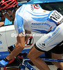 Javier Megias is racing for Team Type 1 with his diabetic regulator embedded in his left arm...