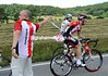 Class act - a Radio Shack soigneur lets Greg Rast take his feed-bag without even looking his way..!