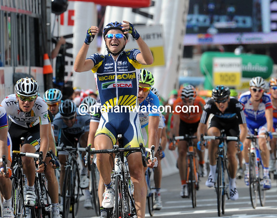 Borut Bozic wins stage five - he cannot believe his lucky day has at last arrived..!