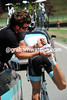 Cancellara needs his cleats tightened of course - and his Leopard mechanic obliges...