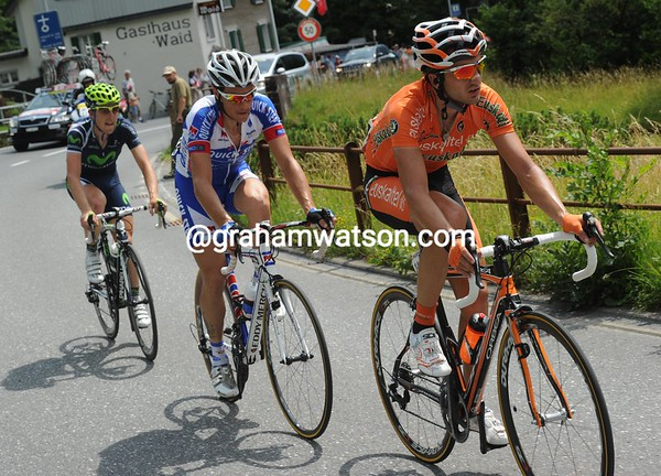 Izagirre leads an escape clear after the peloton sat-up near the feed-zone...
