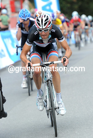 Frank Schleck attacks now - he's heard that De Gendt beat brother Andy to win the stage..!