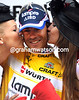 Damiano Cunego enjoys the kisses on the podium, but can he survive tomrrow's TT challenge and win overall.?