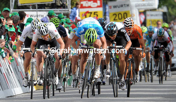 There's a stage to be won today as well - the sprint is between Sagan, Goss, Hushovd and Swift...