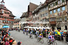 The peloton races through the spectacular town of Stein-am-Rhein....