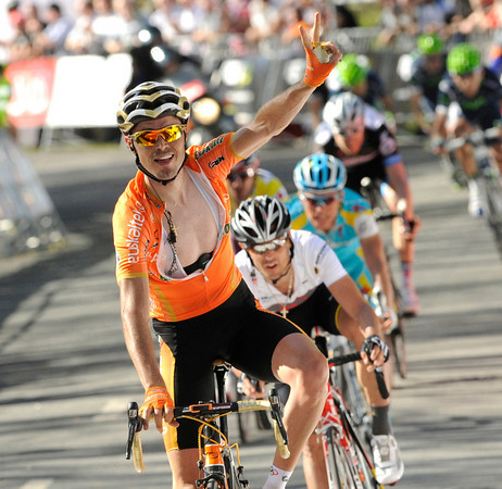 Sammy Sanchez wins stage four after an uphill sprint to the line - the locals are pleased for a Basque team, if not a Basque cyclist..!