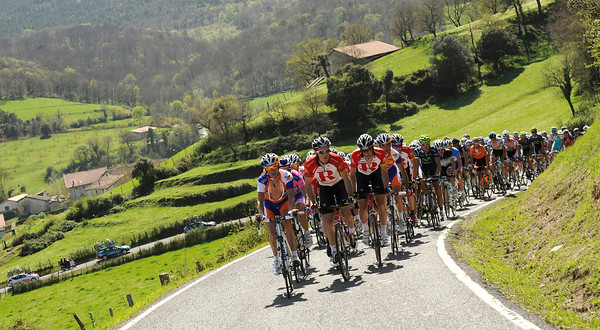 Radio Shack conducts the peloton over some very steep terrain...
