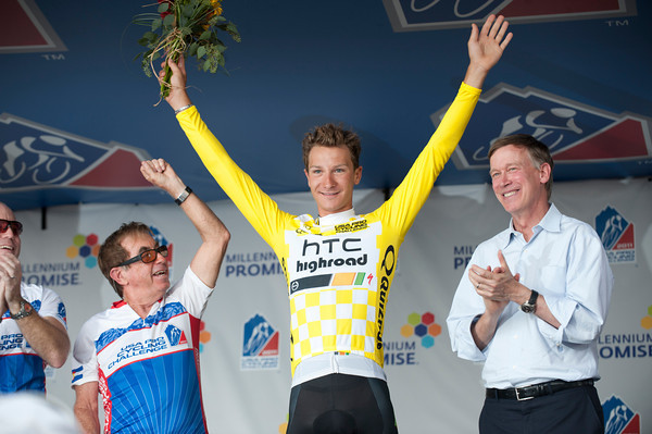 Grestch celebrates claiming the first yellow jersey of the USA Pro Cycling Challenge in HTC's last year of operation.