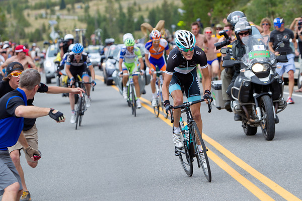 Near the top of Swan Mountain, Andy Schleck has attacked!