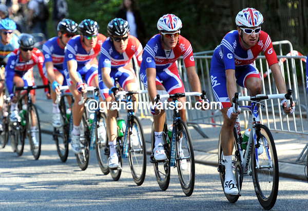 Great Britain is already in formation near the head of the peloton - Bradley Wiggins leads a train with Mark Cavendish at the very back...